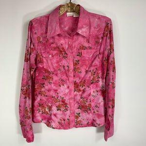 Pink Tie Dye Western XL Button Up Shirt Daytrip